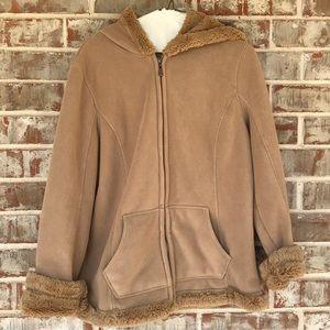 Green Tea Tan Simulated Fur Fleece Hood Jacket